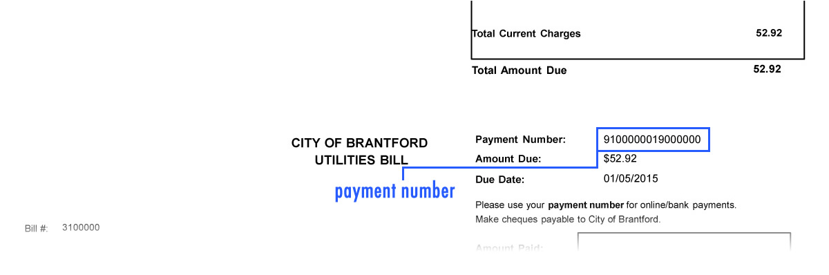 Example of utility bill with the account number and customer number in the top right corner highlighted